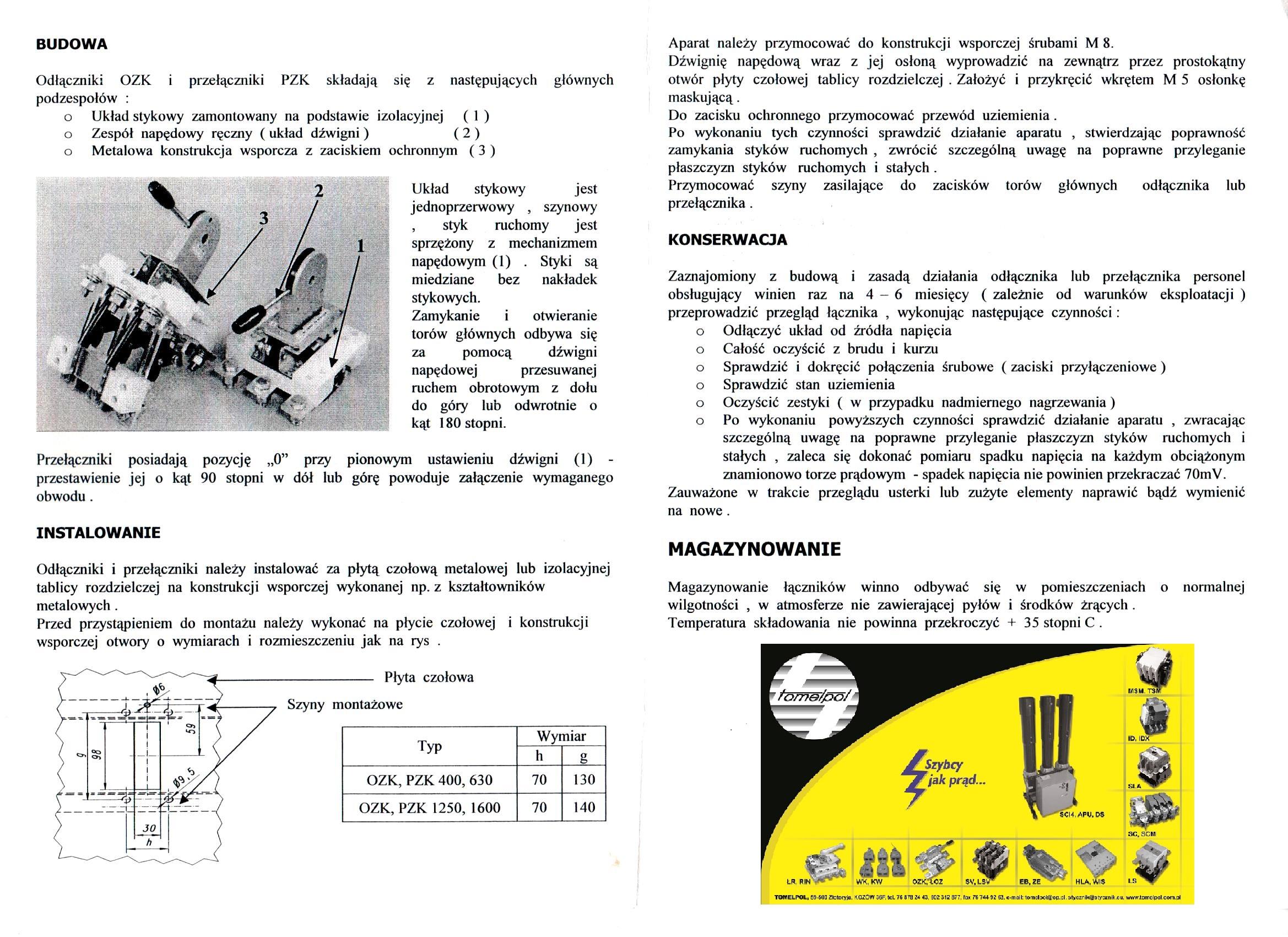 Fantastyczny Odłącznik OZK 3x630 :: TOMELPOL YY91